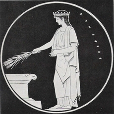 Demeter with ears of grain, Greek vase painting