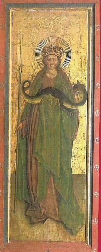 St. Margaretha with her dragon, church of Obersaxen, Switzerland